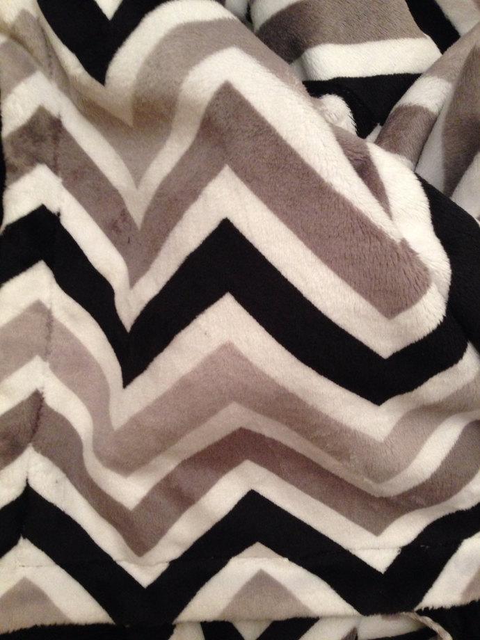 Minky Baby Blanket Chevron Black Grey Silver.Black Minky Dot Back Infant Car