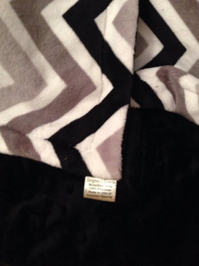 Chevron Minky Blanket Black Grey Silver with Black Minky Dot Back Toddler or Lap