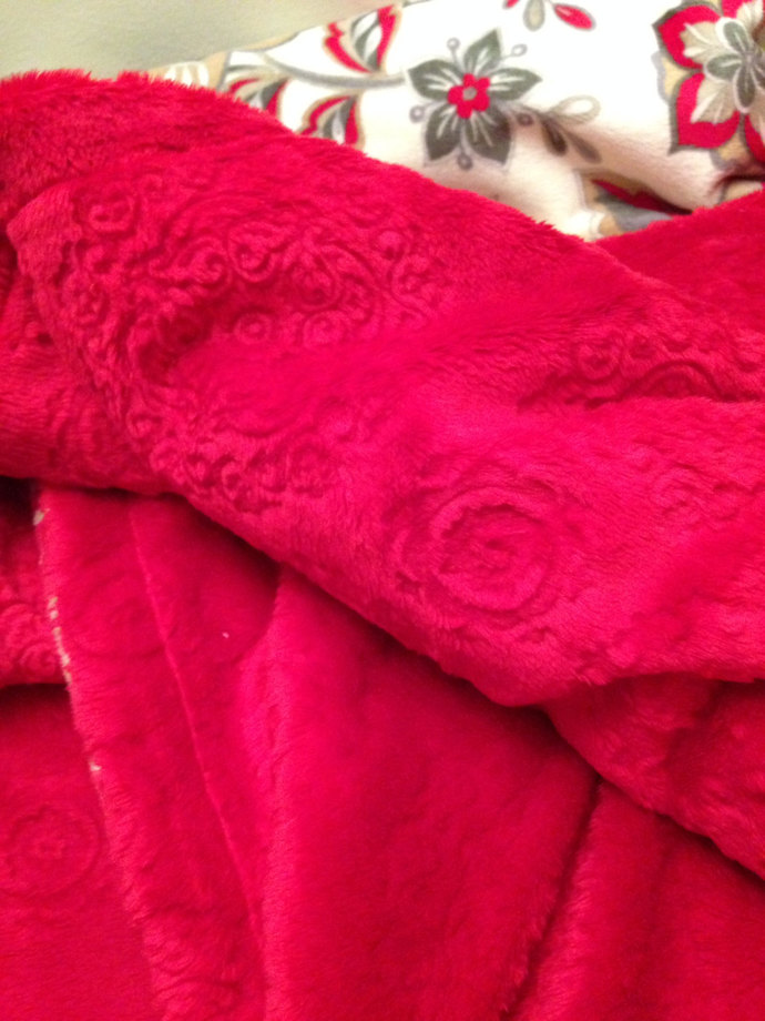 Minky Baby Blanket Infant Red and Grey Floral Throw Minky Back Car Seat Stroller