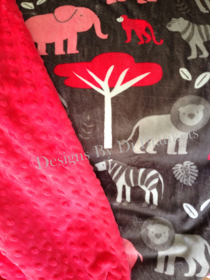 Minky Baby Blanket   Jungle Animals on Grey  with Watermelon  Minky Dot Back