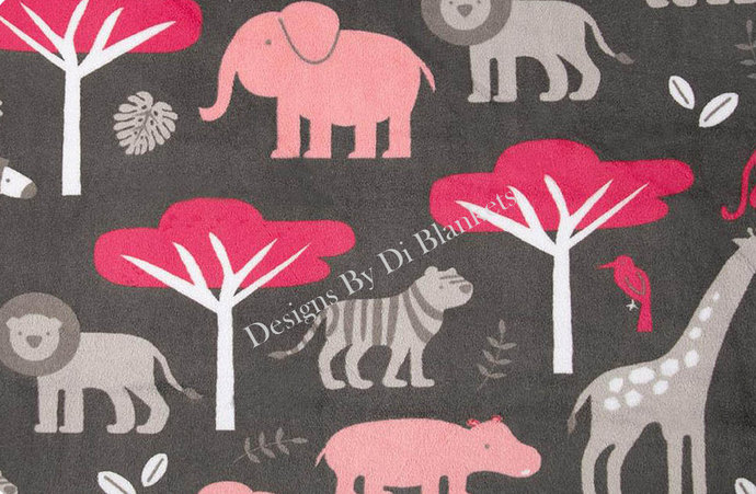 Minky Blanket Adult Throw  Jungle Animals on Grey  with Watermelon  Minky Dot