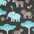 Toddler Minky Blanket   Jungle Animals Elephants on Grey  with Topaz Minky Dot
