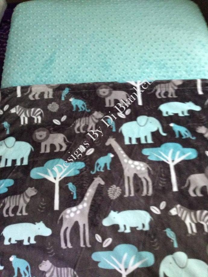 Toddler Minky Blanket   Jungle Animals Elephants on Grey  with Topaz Minky Dot