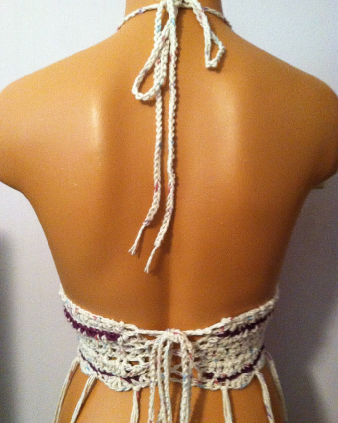 Vikni Designs Fringe Halter Top, Nude Tan Hippie Halter Top, Summer Festival Top