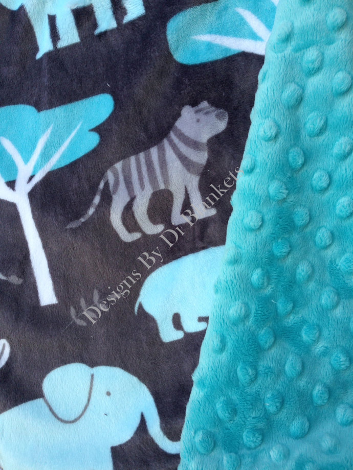 Minky Blanket Adult Throw  Jungle Animals on Grey  with Topaz Minky Dot Back