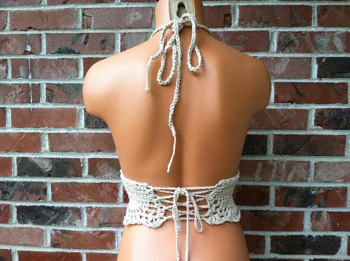 Festival Vikni Designs Halter Top, Beige Cream Hippie Boho Crochet Crop Top