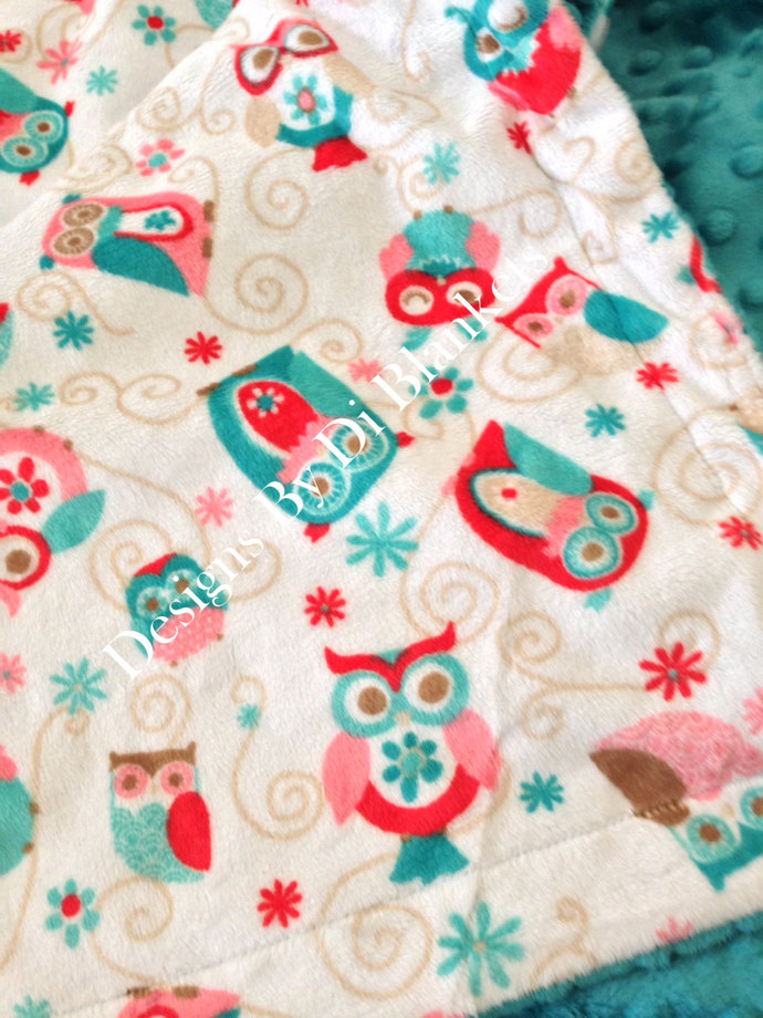 Owl Minky Blanket Adult Throw  White with Coral  and Teal Owls and  Minky Dot