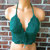 Vikni Designs Green Halter Crop Top, Festival Crochet Top