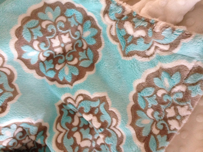 Minky Blanket Blue and Brown. Mar Bella  Ivory Minky dot back Toddler Size 40 x