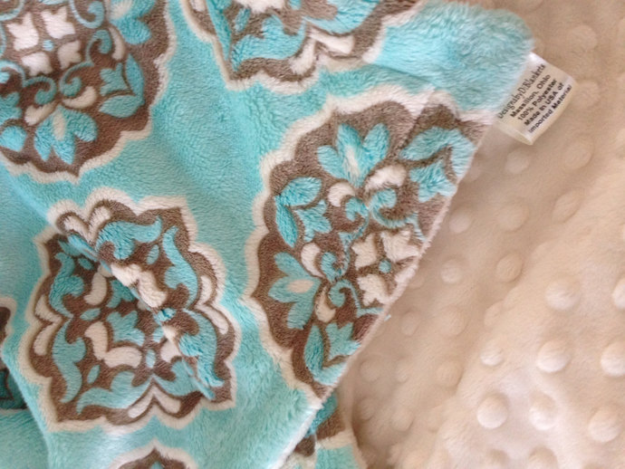Minky Baby Blanket Blue and Brown. Mar Bella  Ivory Minky Dot Back Infant or