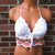 Vikni Designs Hippie Halter Top in White and Sandstone
