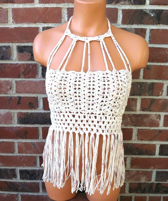 Vikni Designs Halter Top Vintage Fringe By Viknicrochet