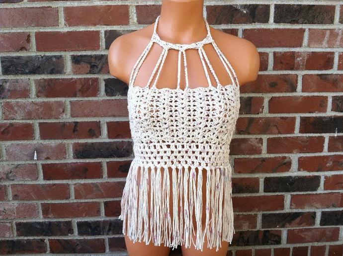 Vikni Designs Halter Top, Vintage Fringe Crochet Crop Top, Nude Tan Blend High