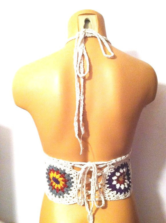 Festival Natural Vikni Designs Autumn Flower Top, Crochet Crop Top, Hippie