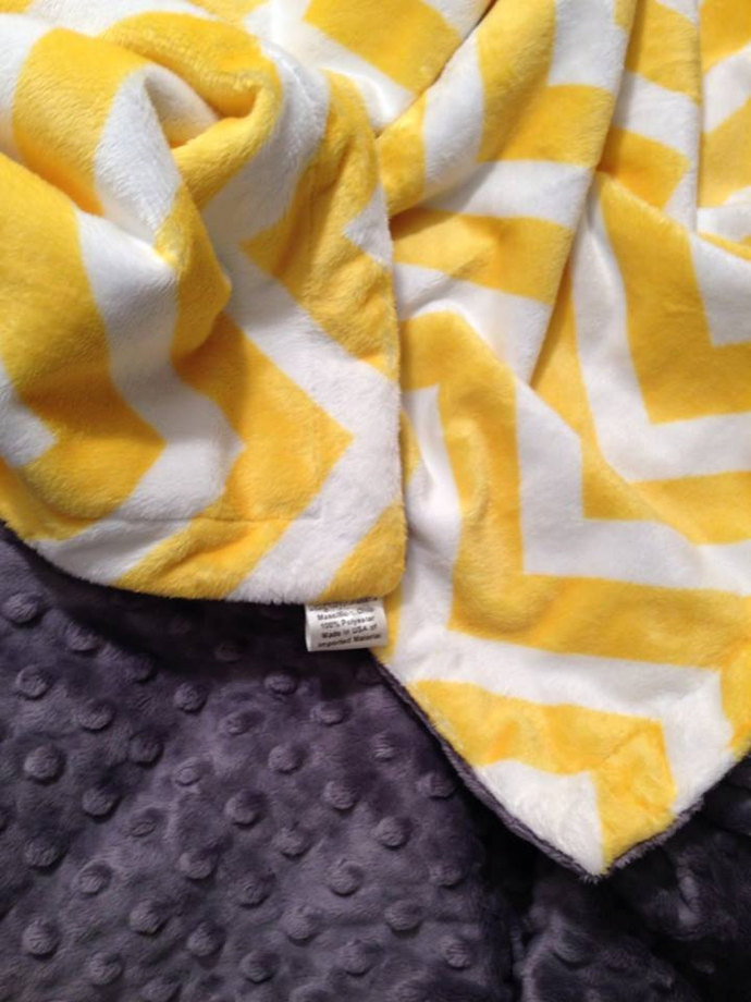 Chevron Minky Baby Blanket Yellow Grey Minky Dot Back  Crib Size 36 x 45
