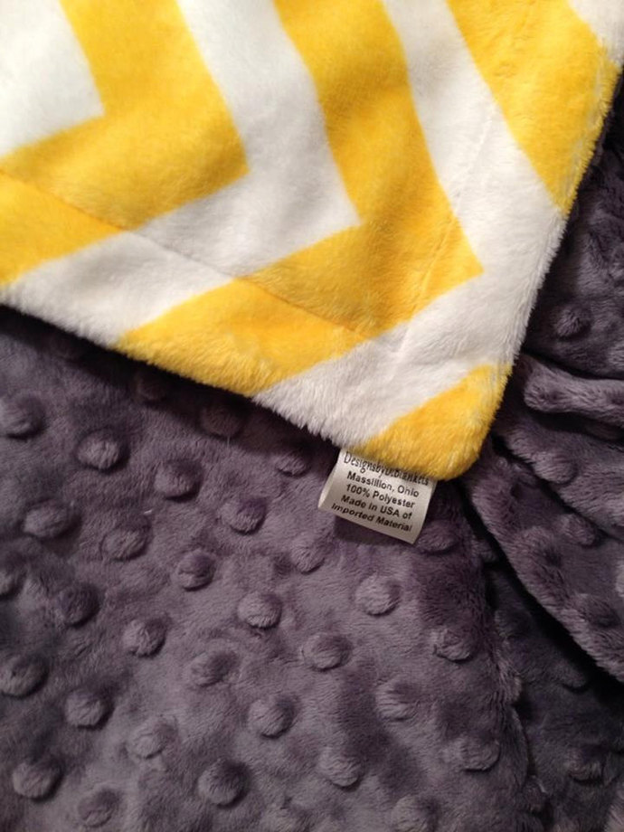 Yellow and White Chevron Minky Baby Blanket  Infant 29 x 36