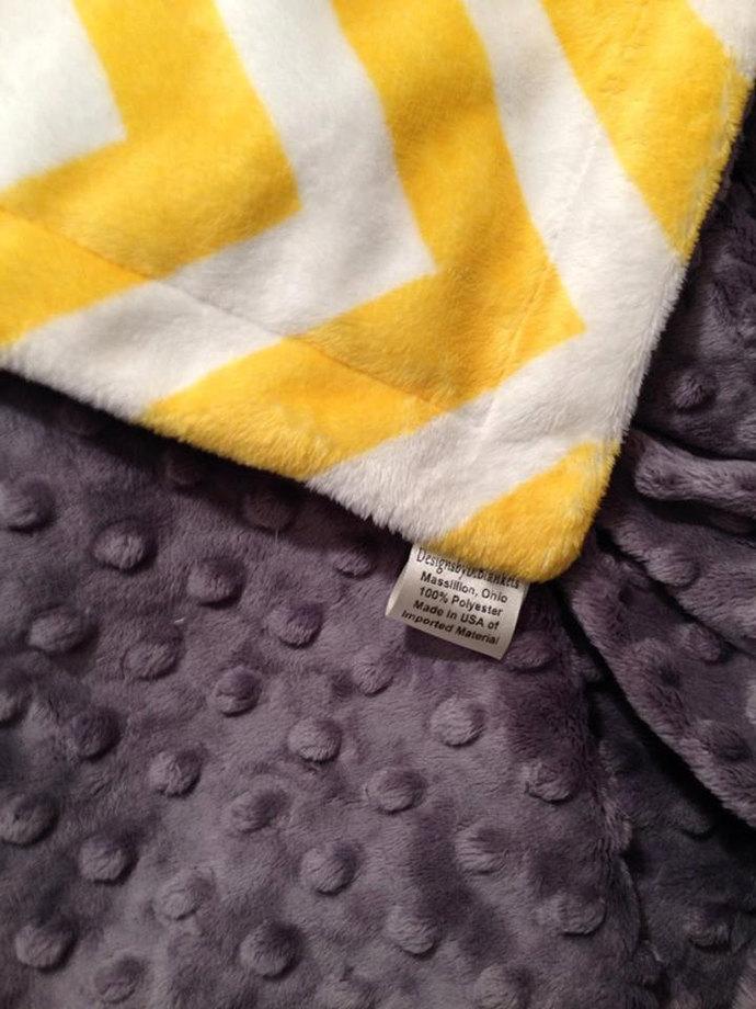 Yellow Chevron Minky Blanket  with Grey Minky Dot Back Adult Throw 50 x 60