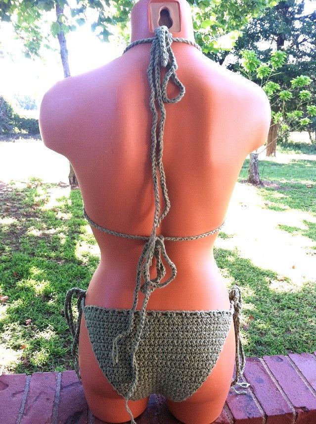 Sage Green Crochet Bikini, Custom Crochet Bikini by Vikni Designs