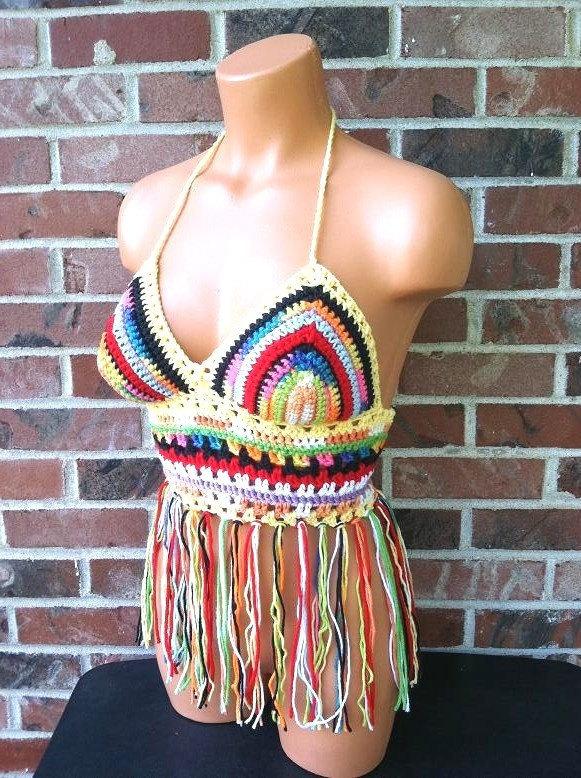 Vikni Designs Festival Crazy-color Fringe Halter Top, Multicolor Crochet Crop