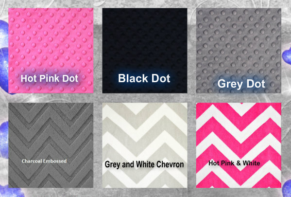 Pink and Grey Minky Baby Blanket Grey Black Hearts  Hot Pink Minky Dot Back