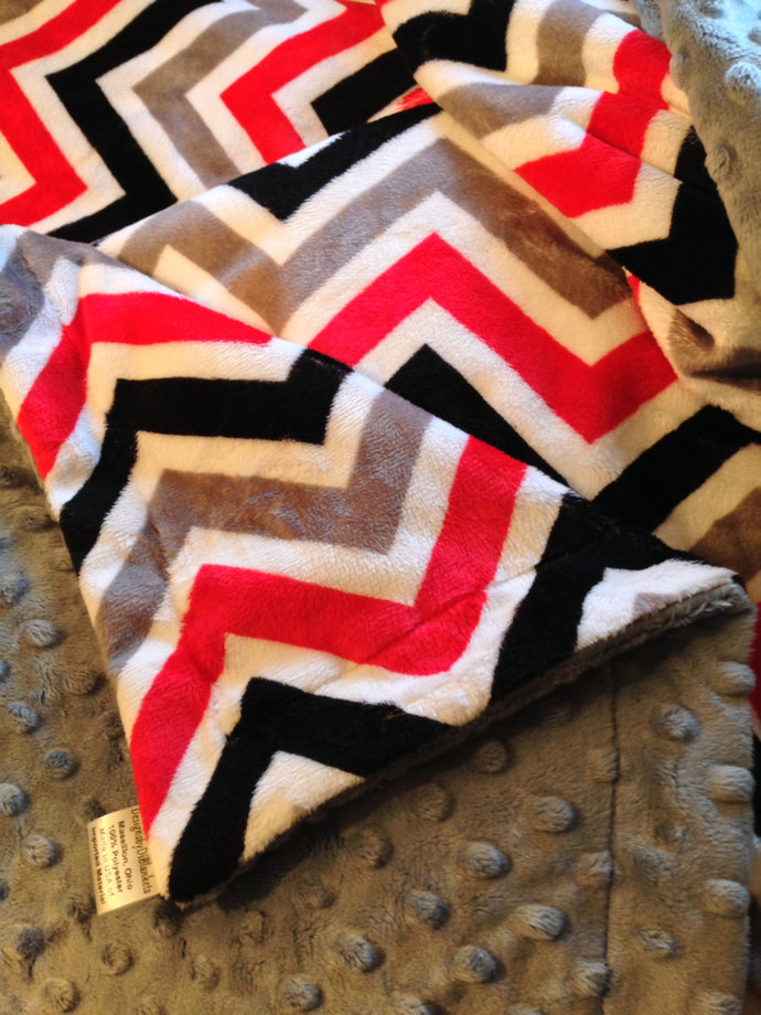 Minky Chevron Toddler Blanket Red Grey  Black with  Grey Dot Back  Toddler 40 x