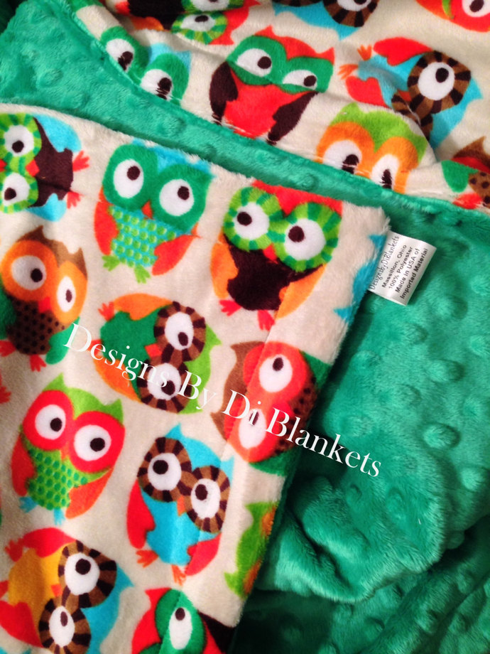 Toddler Minky Baby Blanket Cream with Owls Kelly Green Minky Back  Crib Size 40