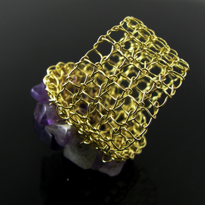 Wire knit and crochet ring with amethyst and labradorite chips