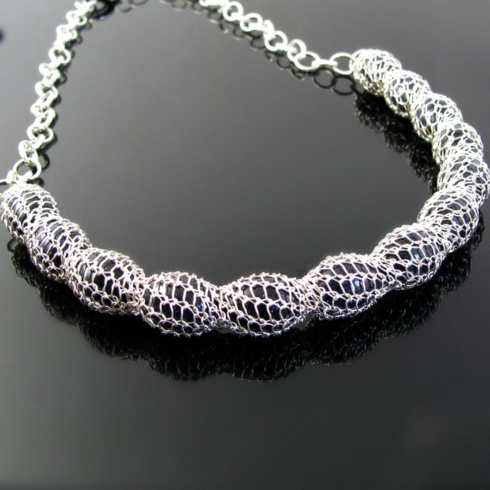 Blue goldstone wire knit necklace - The Pod