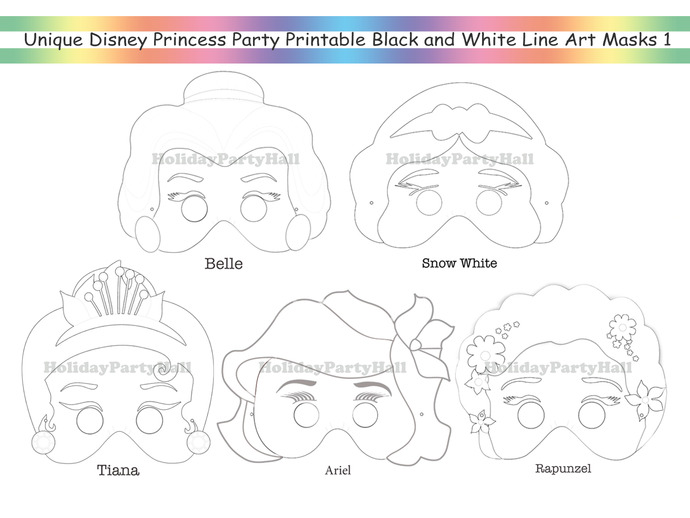 Unique Coloring Pages Disney Princess Party Printable Black And White Line Art