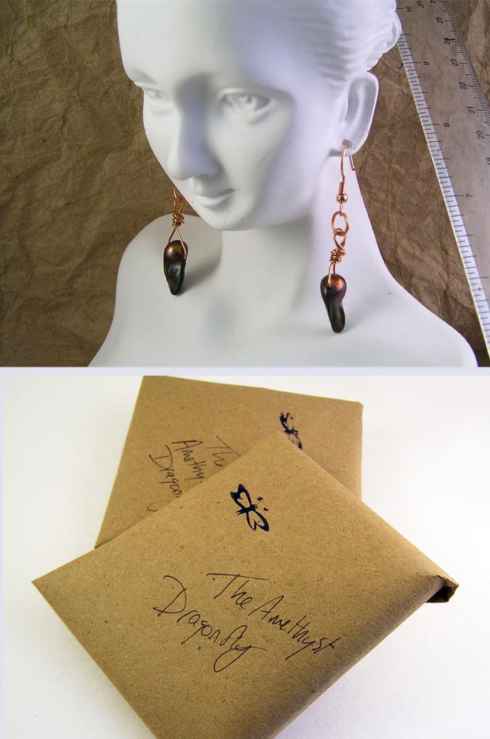 Copper freshwater  dagger pearl earrings