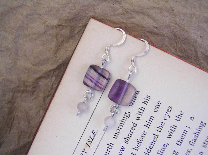 Purple fluorite earrings with silver tone details