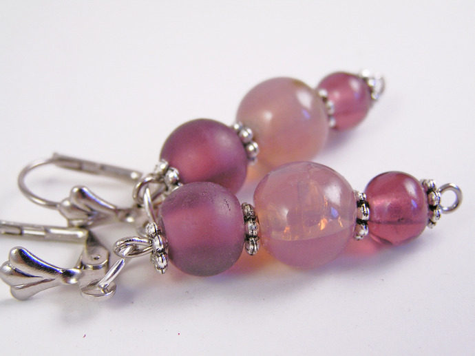 Purple glass bead earrings with Tibetan silver daisy spacers