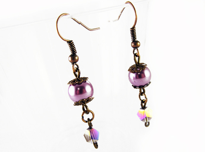 Purple pearl and crystal earrings with copper filigree beadcaps