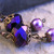 Purple pearl and glass earrings with filigree copper beadcaps