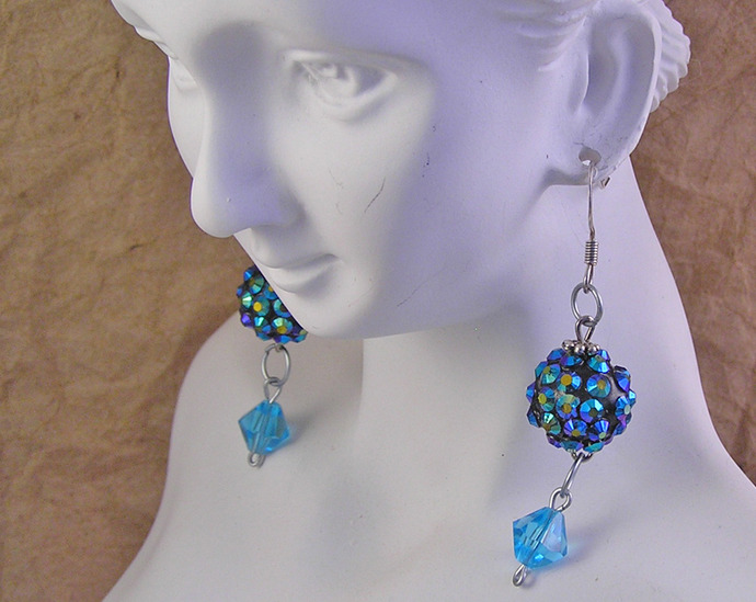 Disco ball blue earrings with Tibetan silver daisy spacer beads