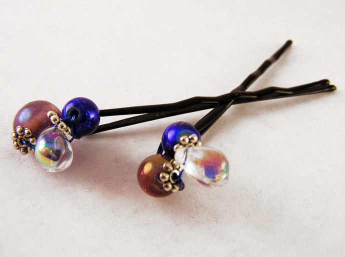 Glass bead hairpin hair jewelry,  Set of 2.