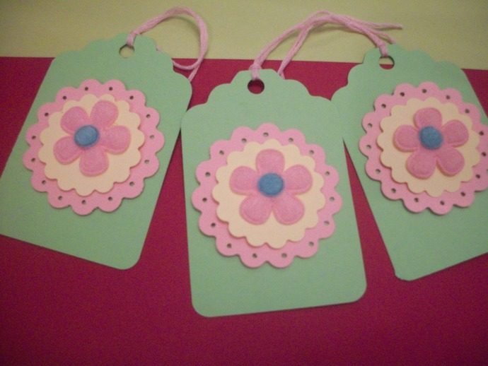 Green and Pink Floral Hang gift tags/6ct set