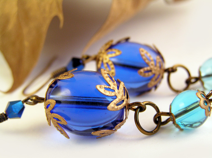 Blue Glass and copper filigree earrings