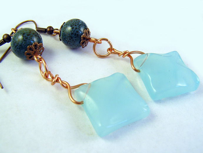 Turquoise ceramic Dangle earrings with glass squares and copper