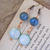 Turquoise Blue earrings with ceramic and aqua shell beads