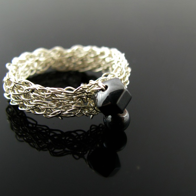 Silver wire crochet hematine ring - Iron girl