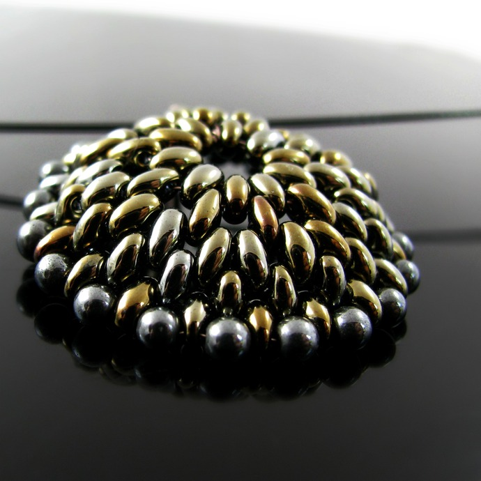 Beaded domed metallic Twin Beads pendant