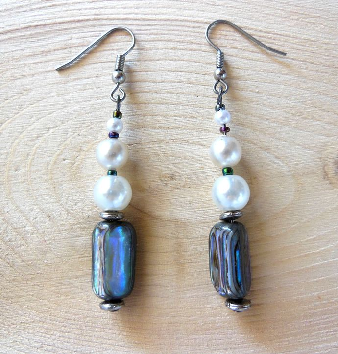 Handmade Abalone Shell Nugget Earrings with Glass Pearls and Seed Beads -