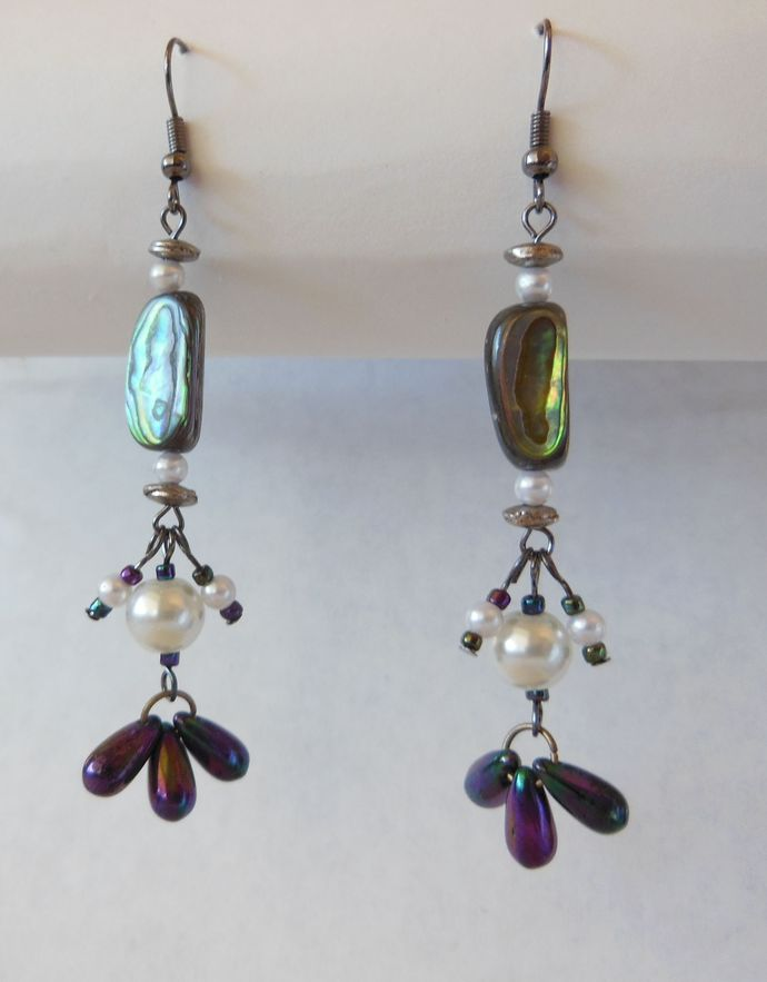 Handmade Abalone Shell Earrings with Glass Pearls and Iridescent Teardrops -