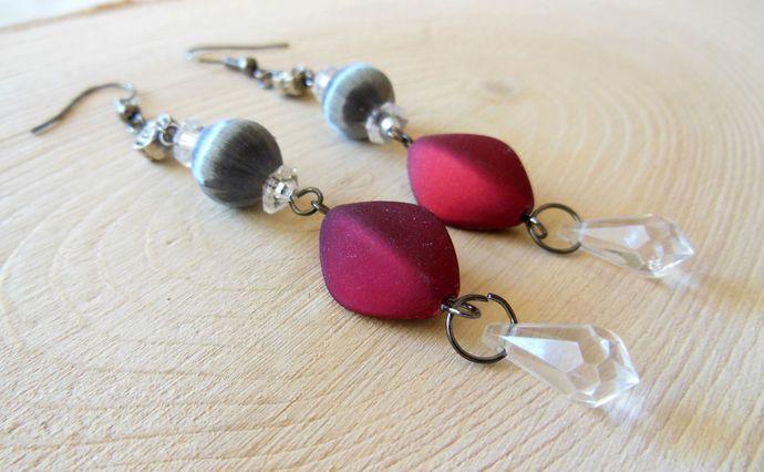 Handmade Red and Grey Long Crystal Earrings