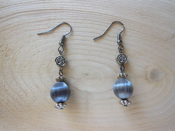 Handmade Round Satiny Gray Rose Beaded Dangle Earrings - Hypoallergenic Option