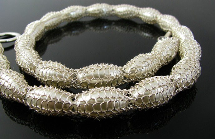 Wire knit and white glass pearls bridal necklace