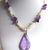 Handmade Purple and White Stone Chip Necklace with Pear Shaped Teardrop Pendant
