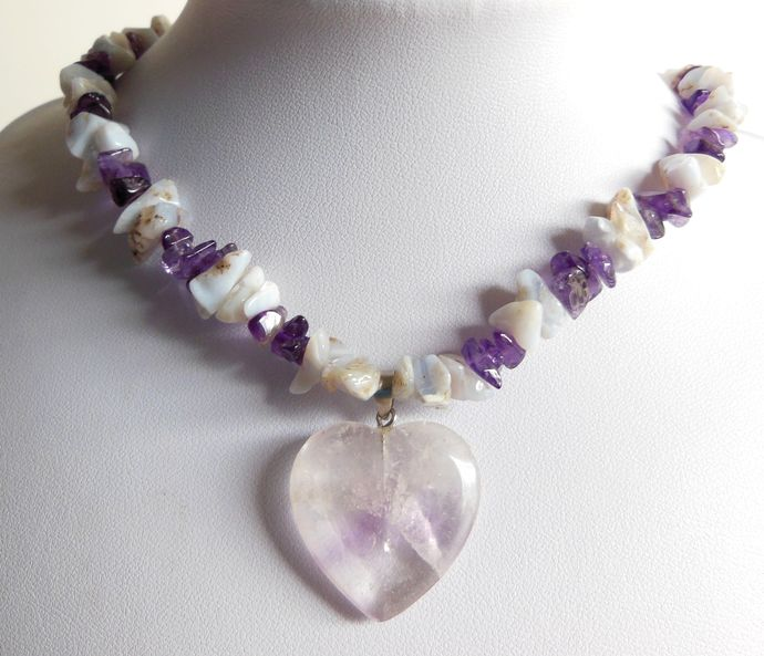 Handmade Purple & Periwinkle Necklace with Heart Pendant - Amethyst, Agate
