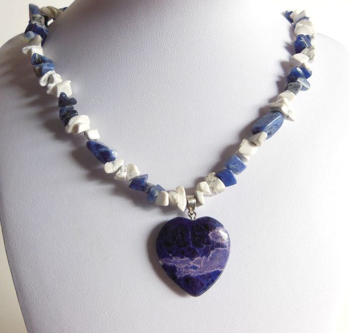 Handmade Blue and White Necklace with Heart Pendant - Sodalite, Howlite